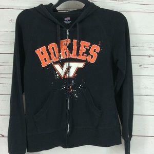 Soffe Hokies VT black sweatshirt jacket Xl